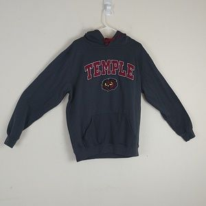 Temple University Gray Hoodie, Sz Large